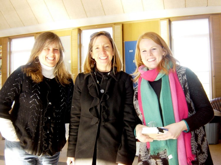 Kate (Center) with Cheryl Space (left) from the Office of Library and Information Services and Amy Greer (right) from the Providence Community Library at the Reading Across RI kickoff held on Jan 26, 2013 at the Newman Congregational Church, Rumford, RI.