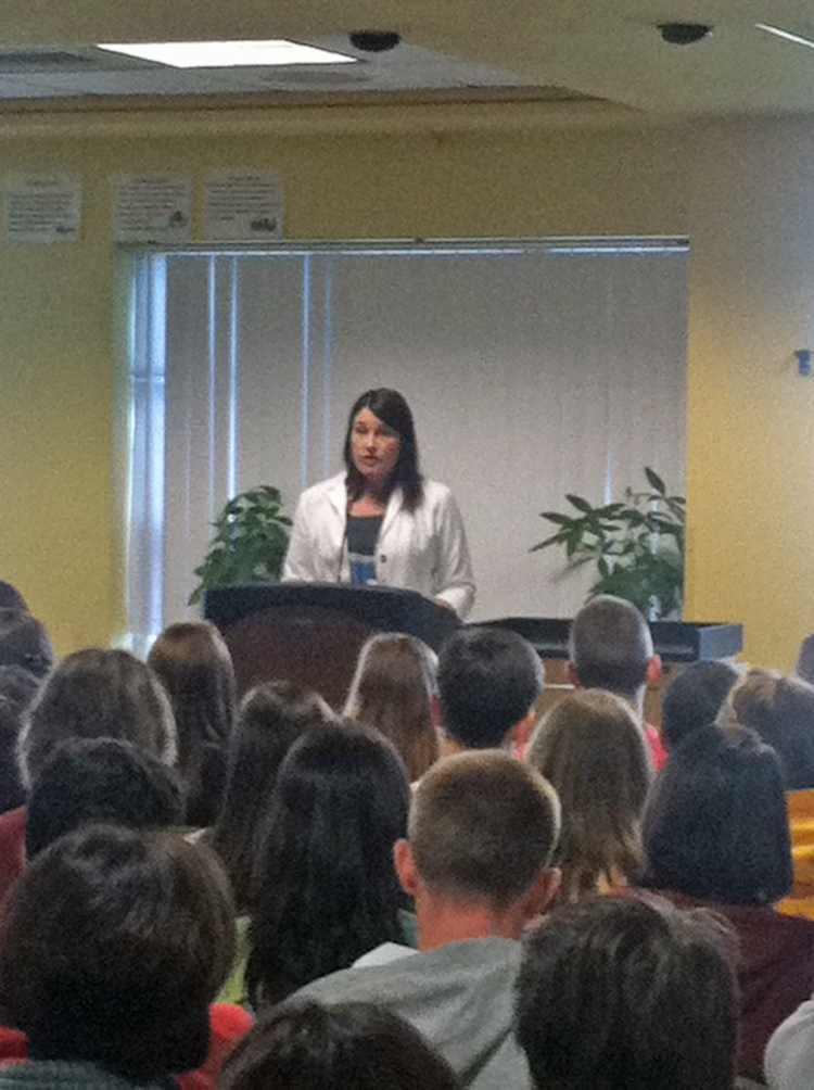 Camilla Gibb speaks at the 2013 RARI statewide student video conference at Smithfield High School