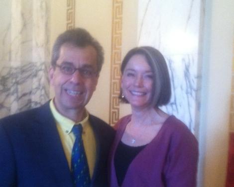 Author Chris Grabenstein and RI Commissioner of Education Deborah Gist